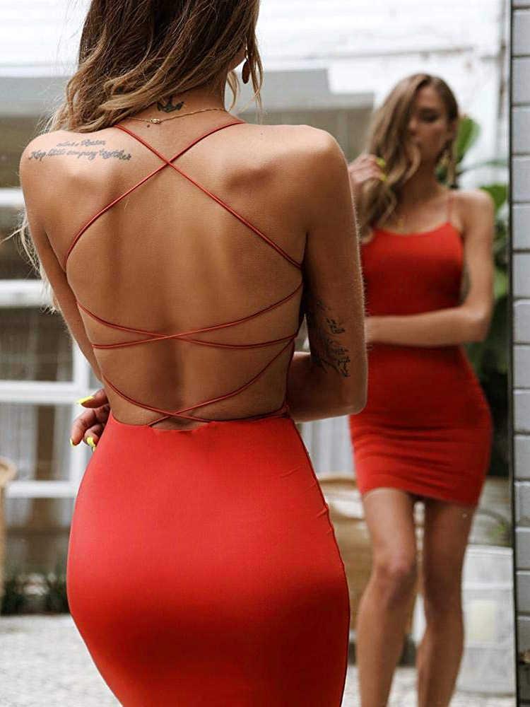 Vrouwen Sexy Bodycon Party Jurken Backless Spaghettibandjes Clubwear Mini Jurk Lage Hals Drop Shipping