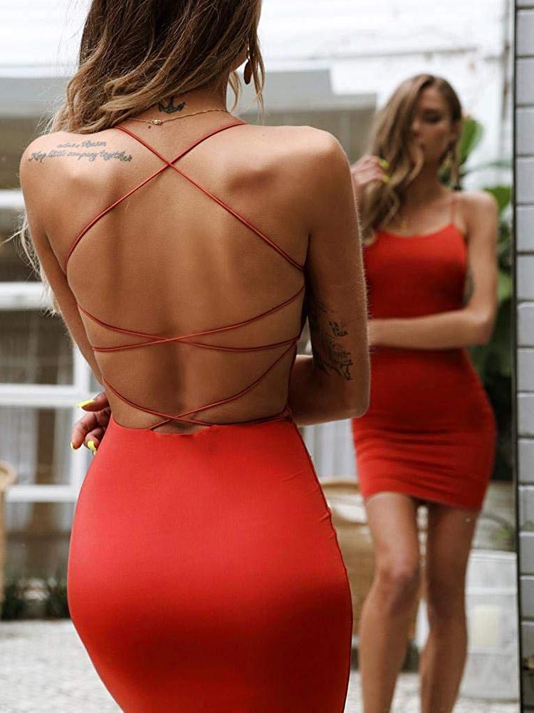 Women Sexy Bodycon Party Dresses Backless Spaghetti Straps Clubwear Mini Dress low neck drop shipping