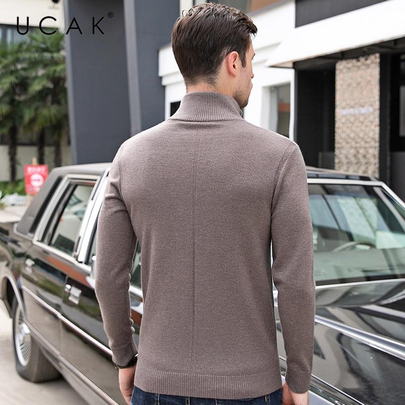 UCAK Brand Sweaters Men 2019 Casual Autumn Winter Pull Homme Pure Merino Wool Turtleneck Warm Fashion Cashmere Sweater Men U3084
