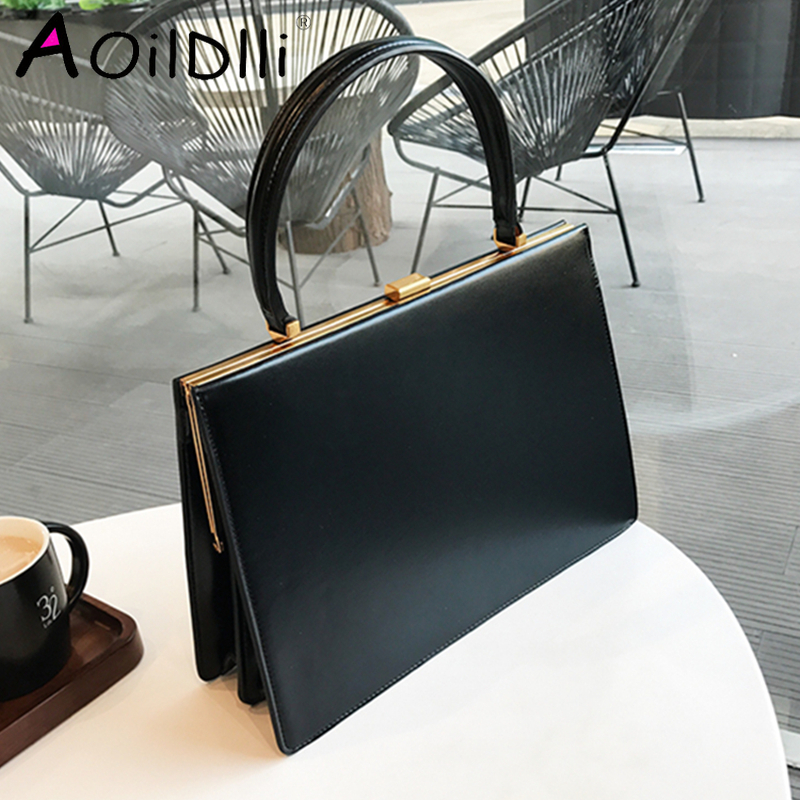 AOILDLLI Vintage Clasp Women Handbags Medium Metal Frame Design High Quality Female Tote Bags Spring 2020 Red Black Box Packing