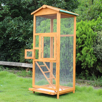 PawHut Bird Cage Large Parrot for Wooden Garden 68 × 63 × 165 cm 2