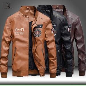 Image 1 - Winter Leather Jacket Men Motorcycle PU Leather Jackets 2020 New Mens Casual Fleece Warm Bomber Coat Male Slim Fit Windbreaker