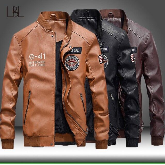 Winter Leather Jacket Men Motorcycle PU Leather Jackets 2020 New Mens Casual Fleece Warm Bomber Coat Male Slim Fit Windbreaker