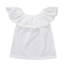 Летняя одежда для маленьких девочек топ для малышей, футболка для детей, Повседневная модная блузка однотонная белая блузка с короткими рукавами для детей