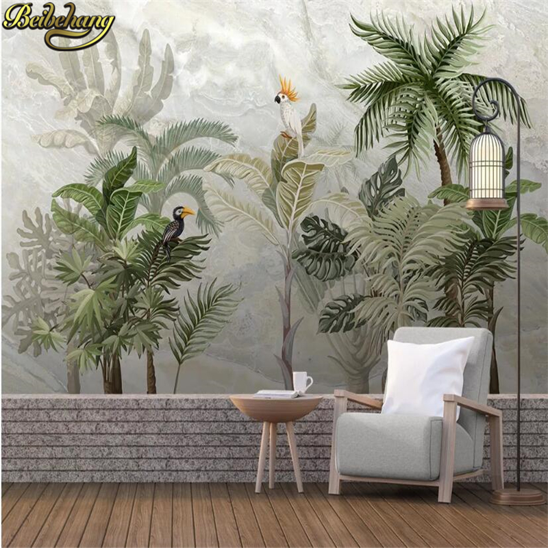 Beibehang Custom Tropical Rainforest Wallpapers Mural Landscape Marble TV Background Decor Wallpaper For Wall Papers Home Decor