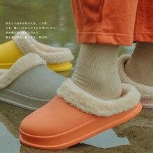 Домашние тапочки из ЭВА Обувь на теплом меху плюшевые слиперы; домашние тапочки домашняя обувь для помещения для Женская зимняя обувь новые модные шлепанцы