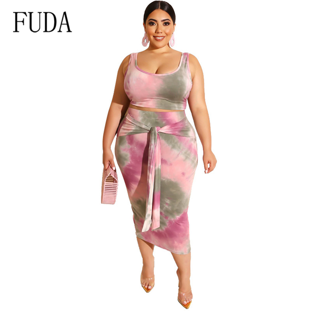 FUDA Womens Tight-fitting Sexy Bag Hips and Umbilical Two Pieces Sets Dress Elegant Tie Dyeing Retro Summer Plus Size 4XL