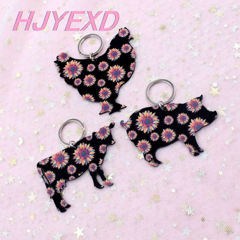 3 Inches Acrylic Easter Keychain Cow Rabbit Sheep Hen Keychain With Ring Gift Laser Cutout-KC024 / KC025
