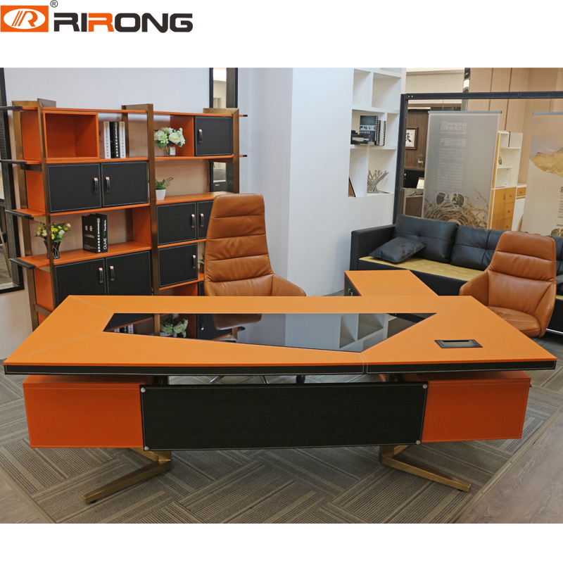 Modern 1.8m Office Design Personal Office Complete Custom Brown Chocolate Orange Office Furniture Wooden Manager Table Desk Set