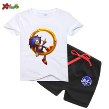 boys girls sets cartoon sonic the hedgehog toddler girls sets top+pant 2Pcs sets 2020 Summer Short Sleeve kids clothes Outfits cheap Novelty O-Neck Pullover DX9995 COTTON Unisex REGULAR Fits true to size take your normal size Shorts Children