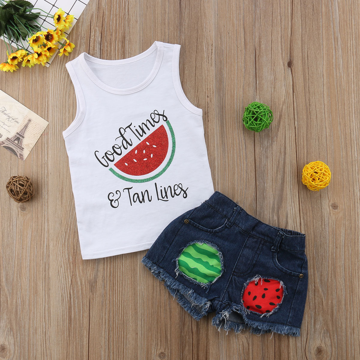 2020 Children Kids Baby Girl Clothes Set Summer Sleeveless Watermelon Vest Tops Shorts Ripped Jeans Girls Clothing Outfits 1