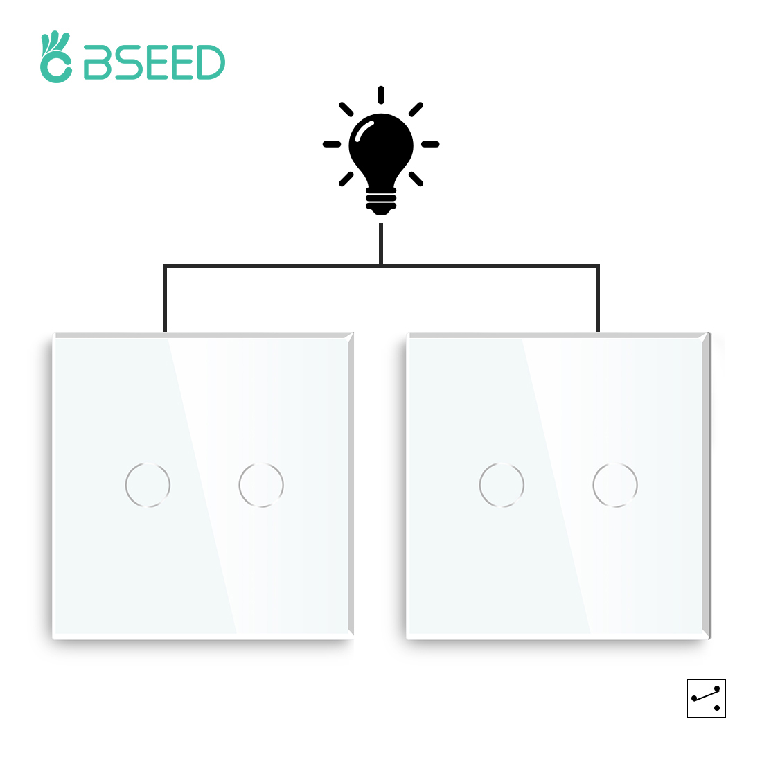 Bseed Mvava Capacitive Touch Switch Luxury 2 Gang 2 Way Stair Switch EU UK Standard Black White Gold In Packs