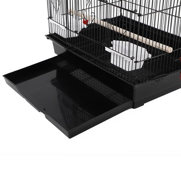 """37"""" Bird Parrot Cage Canary Parakeet Cockatiel LoveBird Finch Bird Cage with Wood Perches & Food Cups Black 3"""