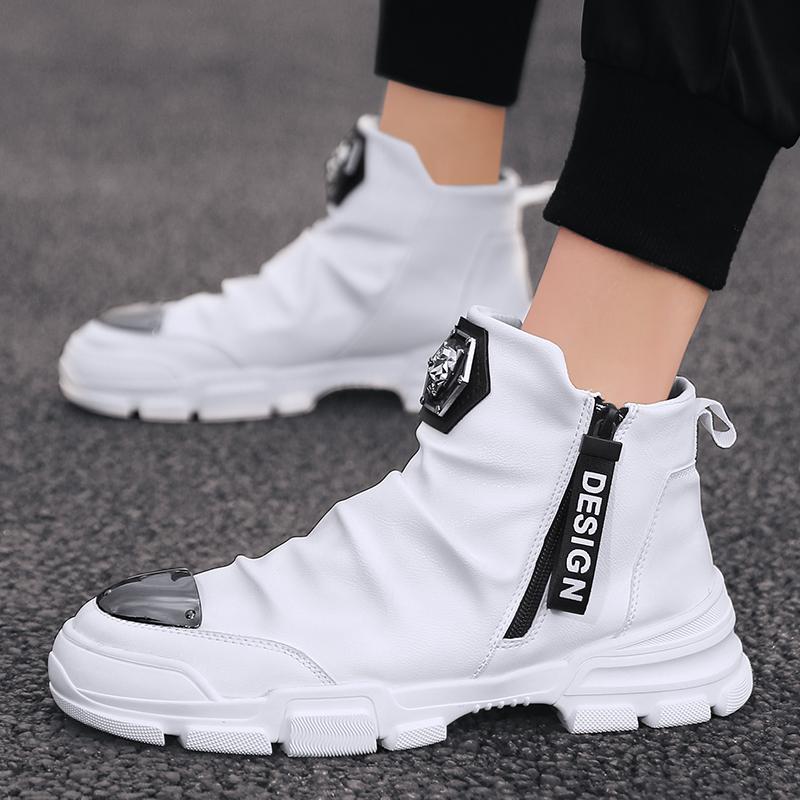 New Fashion High Top Men's Vulcanized Shoes Brand Leather Platform Sneakers Men  Black Casual Shoes