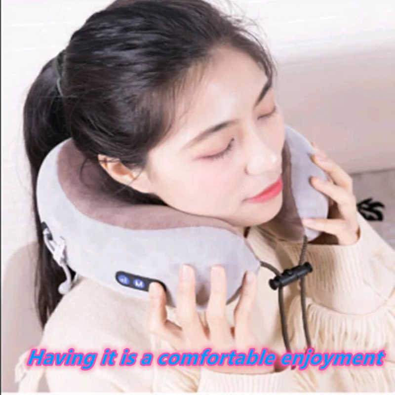 Home Travel U-shaped Office Cervical Relaxing Multi-function Outdoor Portable Health Care Massage Pillow Pain Relief Electric