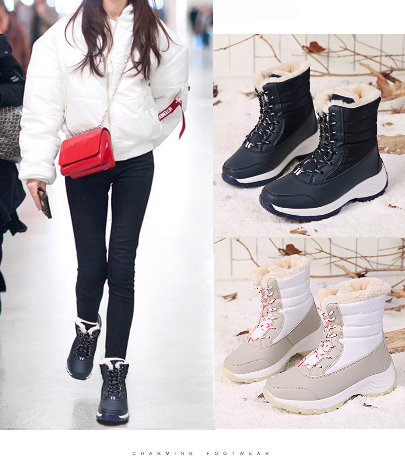 2019 Women Snow boots Waterproof Non-slip Parent-Child Winter Boots Thick Fur Platform Waterproof and Warm Shoes Plus Size 31-42 44