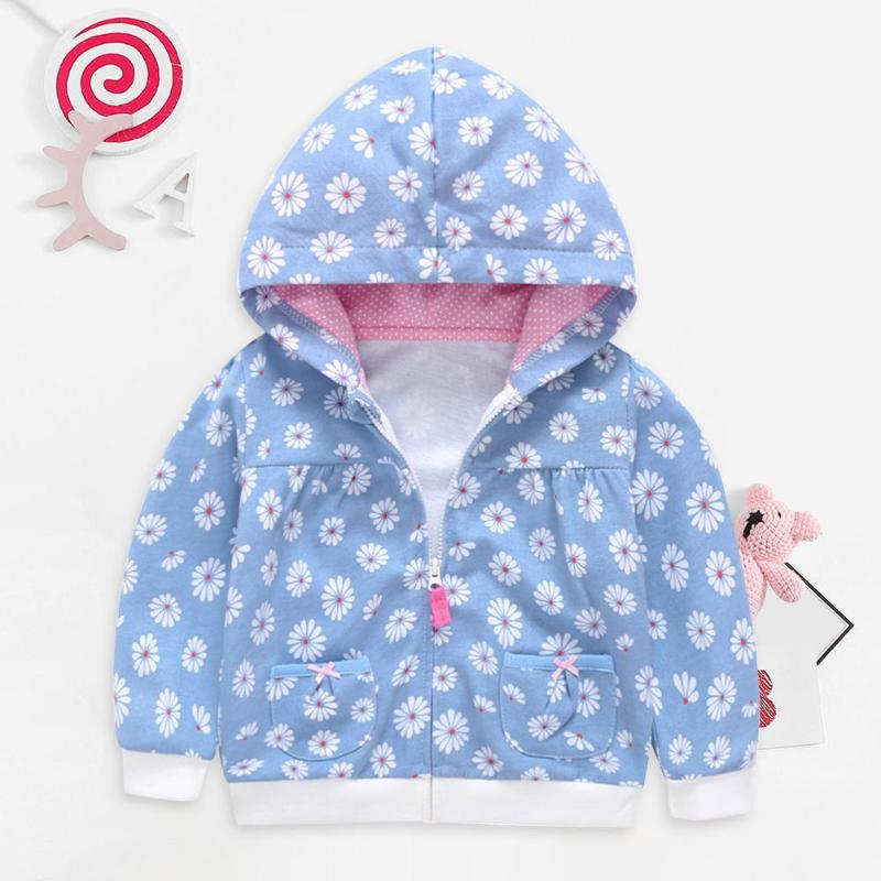 Baby Floral Printing Hoodies Kids Girls Cotton Long Sleeve Pocket Zipper Coat Winter Stitching Cardigan Hooded Breathable Jumper|Jackets & Coats| |  - title=