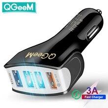 Автомобильное зарядное устройство QGEEM 4USB QC 3,0 с быстрой зарядкой 3,0, автомобильное быстрое зарядное устройство с 4 портами, автомобильное портативное зарядное устройство USB для iPhone Xiaomi