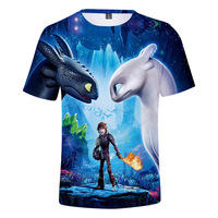 Lazada Thailand Network 2019 Spring New Style 3D Printed Dragon 3 Dragon T shirt Sports Loose Fit T shirt