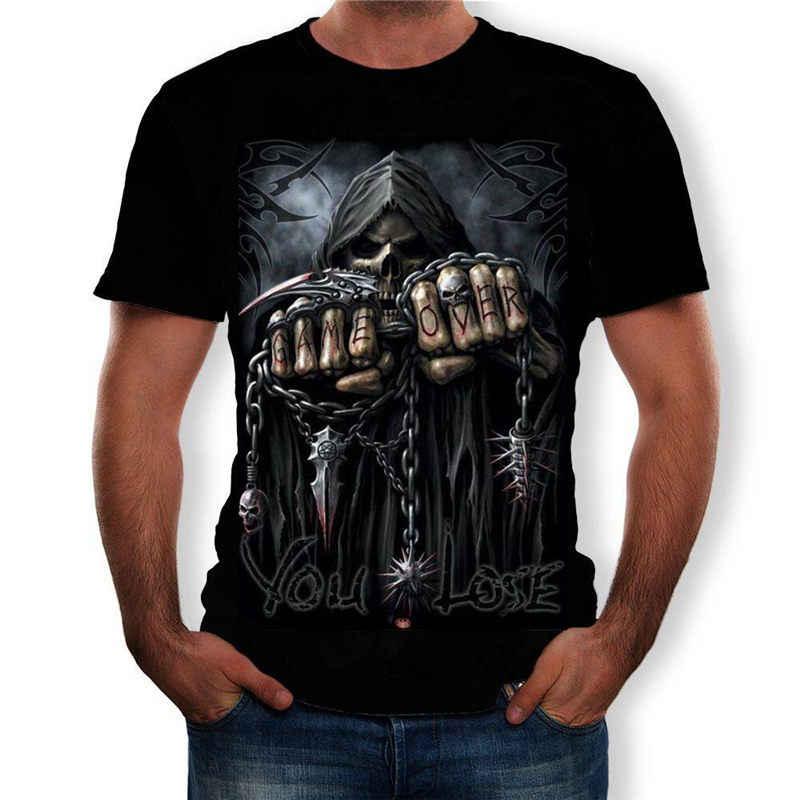 Estate 2019 Nuovo Cranio T-shirt manica Lunga Verde Divertenti T-shirt Testa di Toro Roccia del Drago Gotico vestiti di Strada hip hop supera i t