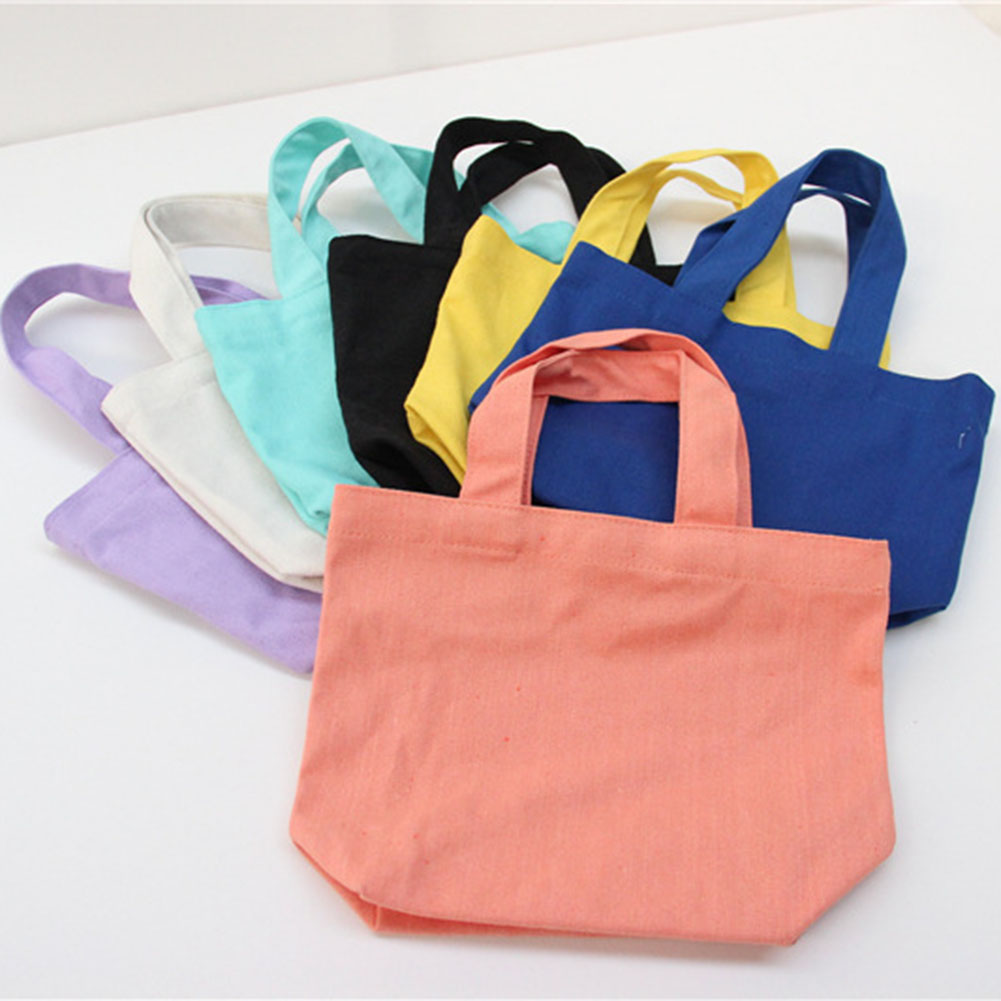 Canvas Cotton Simple Shopping Bags Girls Fashion Solid Color Life Casual Pacakge Hand Bag Foldable Handbag Large Capacity Tote