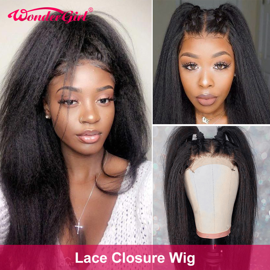 Lace Closure Wig Kinky Straight Wig 150% Lace Front Human Hair Wigs For Women 5X5 4X4 Closure Wig Remy Brazilian Lace Front Wig