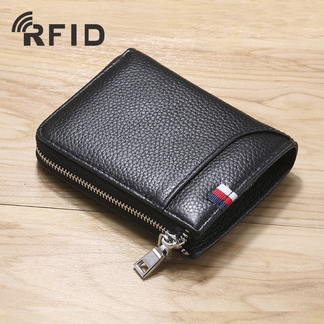 Slim Leather ID/Credit Card Holder Bifold Front Pocket Wallet With RFID Blocking Business Card Holder Genuine Leather Wallets