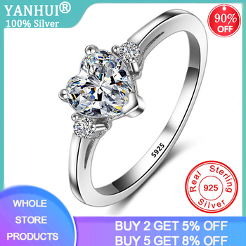 YANHUI Simple Heart Solitaire Ring 925 Sterling Silver Wedding Gift Love Forever Engagement Rings for Women Fine Jewelry JZ006 shipei created moissanite heart ring for women fine jewelry 100% 925 sterling silver love heart ring anniversary valentines gift