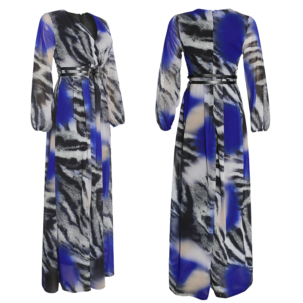 MD African Print Chiffon Dresses For Women Long Sleeve Evening Gowns Plus Size Muslim Fashion Abaya