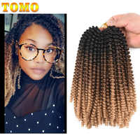 TOMO 30Roots Fluffy Spring Twist Hair Extensions Ombre Crochet Braids Synthetic Braiding Hair Extensions Black Brown Burgundy
