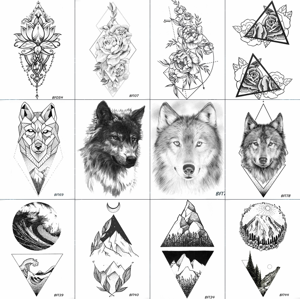 VANKIRS Geometry Rhombus Tattoos Temporary Arm Lotus Wolf Men Tattoo Stickers Black Flower Waterproof Tatoos Women Henna Pastes