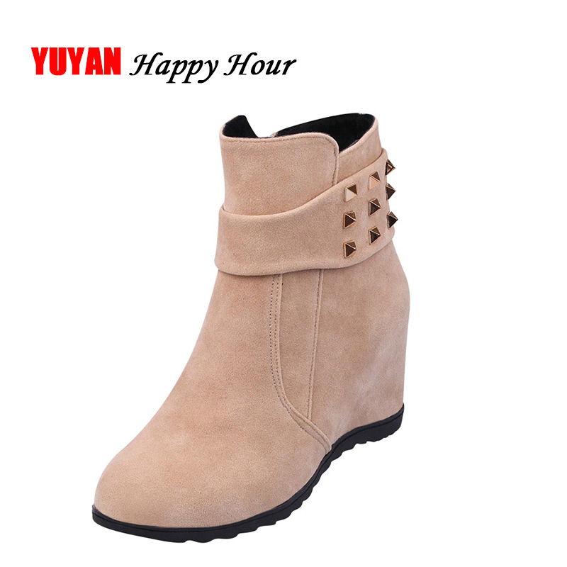 2020 Winter Boots Women Winter Shoes Height Increasing Rivets Brand Women's Wedge Boots Warm Shoes for Cold Winter A339