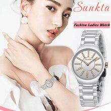 SUNKTA Womens Watch Top Brand Luxury Casual Fashion Women Ceramic Waterproof Clock Diamond Quartz Wristwatch Ladies
