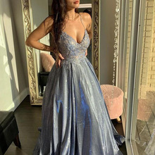Long Glitter Appliques V Neck Prom Dresses Sleeveless Spaghe
