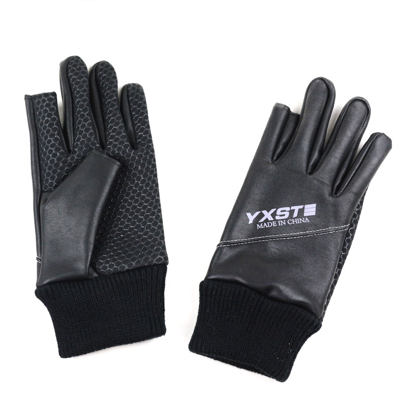 PU Leather Gloves Men Two Fingers Cut Fishing Mitten Elastic Waterproof Sport Guant Spring Winter None Slip luvas in Men 39 s Gloves from Apparel Accessories