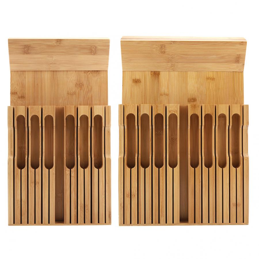 Bamboo Knife Holder Organizer With Plus Slot For Sharpener Kitchen Tool Knife Organizer