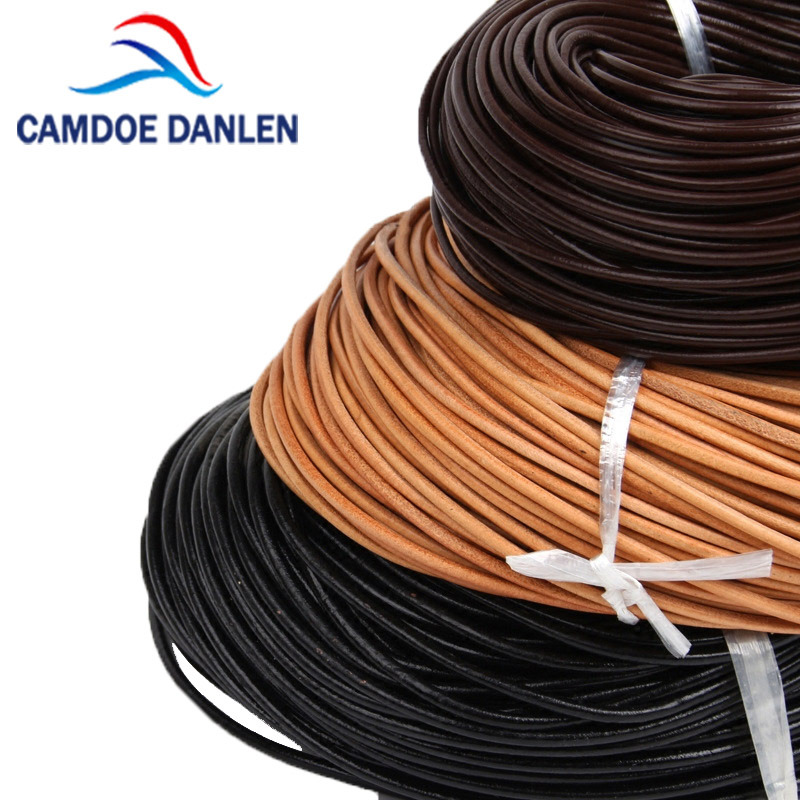 100% Natural Genuine Leather Cord Round Thong Cord String Rope For DIY Bracelet Jewelry Making Accessories 1/1.5/2/3/4/5/6/8mm