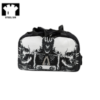 Steampunk Mens Travel Bag Black Printing Sports Bag Canvas Hand Bag Travel Fashion