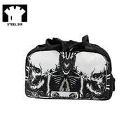 Steampunk Mens Travel Bag Black Printing Sports Bag Canvas Hand Bag Travel Fashion