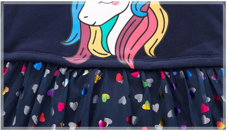 Kids Dress Toddler Girl Dresses Pink unicorn Baby Girl dress Casual Girl clothing 1-6 Y  Costume Girls  2021 brand spring Dress 4