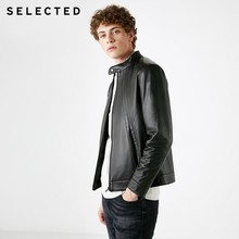 SELECTED Men's Winter Business Casual Genuine Leather Coats New Stand Collar Sheep Leather Jacket S | 418410504(China)