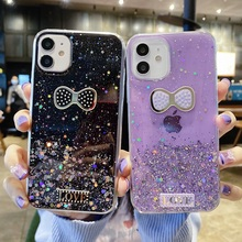 for iPhone 12 Pro Mini 11 Pro Case on iPhone 7 8 6 6S Plus SE 2020 Cover Silicon Glitter Butterfly for iPhone XS Max XR X Bumper