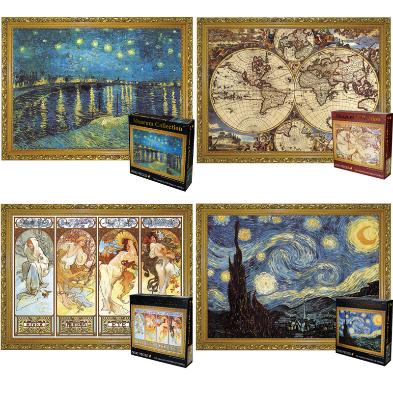 3000 Pieces World Famous Starry Night Thicker Paper Jigsaw Landscape Puzzle Adult Educational Toys Kids Challenge Game Toys