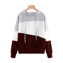 Fashion Women Long Sleeve Hoodie Autumn Winter Drawstring Hooded Sweatshirts Casual Patchwork Sweatshirt Pullovers