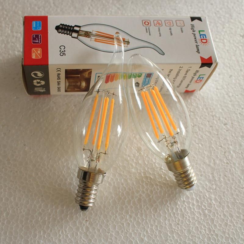 E12/E14/E27 светодиодный лампы в форме свечи лампы E14 2 Вт, 4 Вт, 6 Вт, C35 нити светильник E27 светодиодный светильник C35 C35L 220V COB светодиодный нити свет...