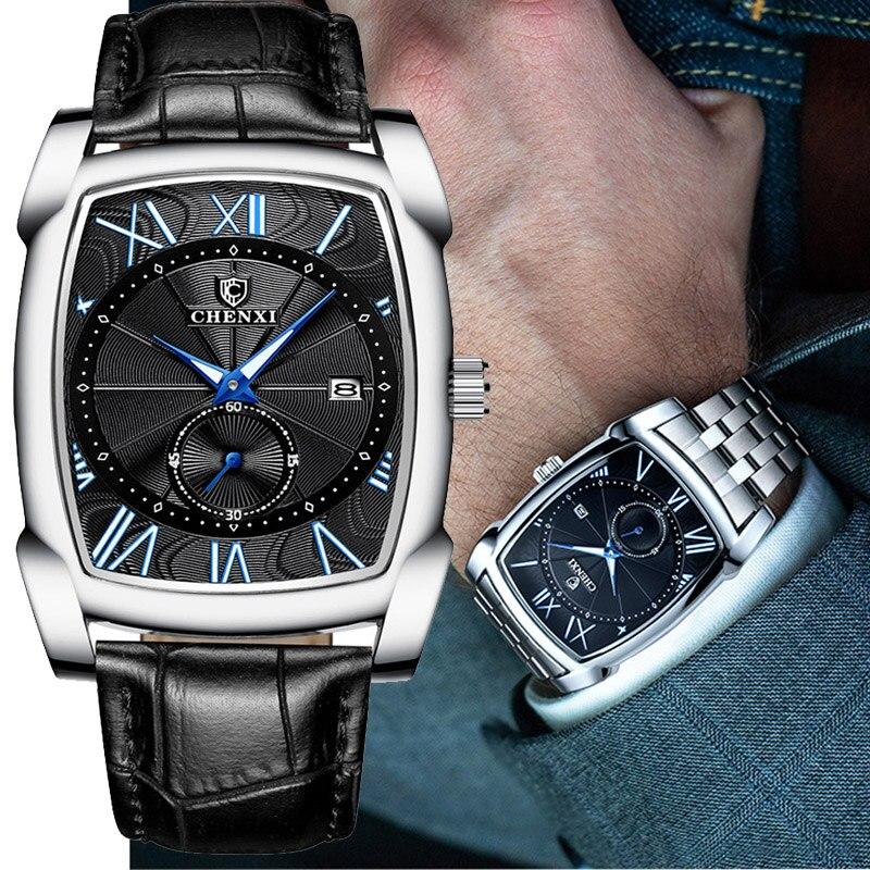 Benyar carré hommes montre affaires étanche Quartz cuir montre-bracelet hommes horloge mâle Relogio Masculino hodinky erkek kol saati