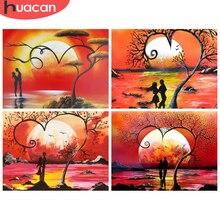 HUACAN – peinture diamant thème paysage de coucher de soleil, nouvelle collection de strass, broderie complète carrée, décor mosaïque pour la maison