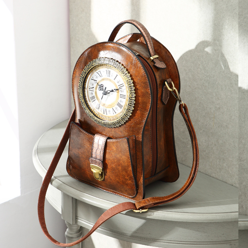 2019 New Shoulder Bag Female Creative Alarm Clock Bag Retro Shoulder Messenger Bag (no Battery)