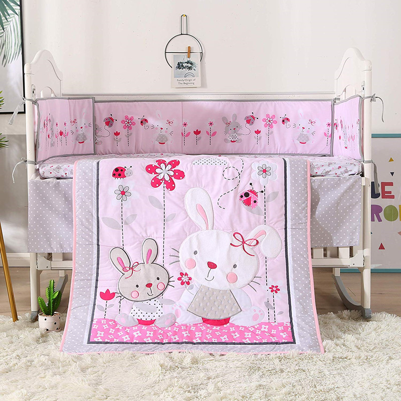 Rabbit 7PCS Embroidery Baby Bedding Ropa De Cuna Cot Crib Bedding Baby Safety Protection (4bumper+duvet+bed Cover+bed Skirt)