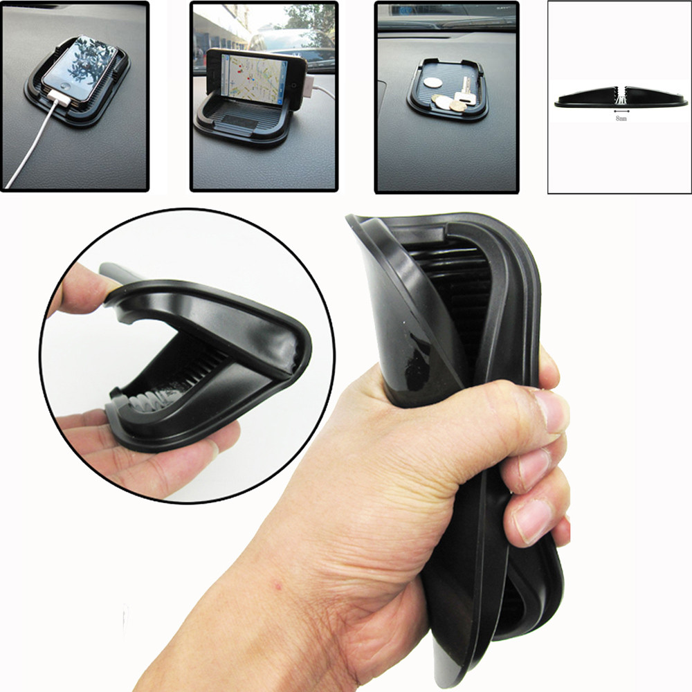 Universal Car Dashboard Anti Slip Pad Holder Silicone Soft Shockproof Mount Stand For Cell Phone GPS Black